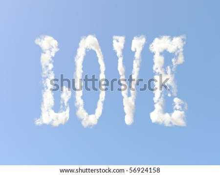 Love sign formed from clouds - stock photo