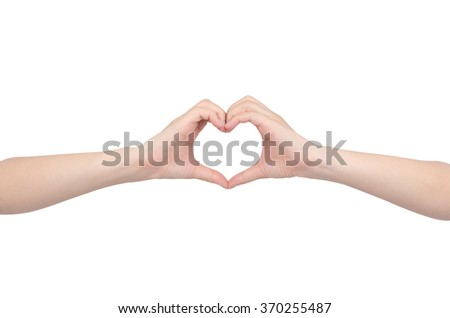 love sign hands on white background
