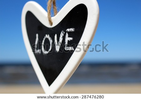 Love sign in heart. Black and White - stock photo