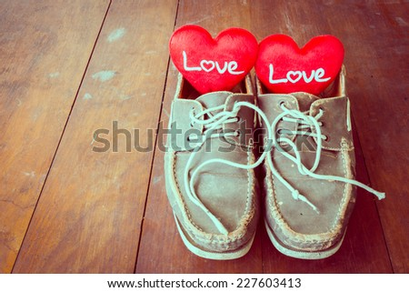 Love sign in old shoes, valentine day.