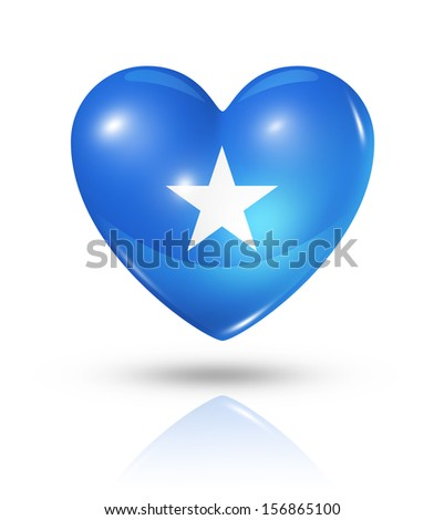 Love Somalia symbol. 3D heart flag icon isolated on white with clipping path - stock photo