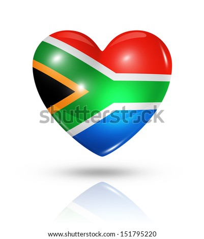 Love South Africa symbol. 3D heart flag icon isolated on white with clipping path - stock photo