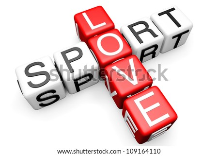 Love Sport Crossword Block text on a white background