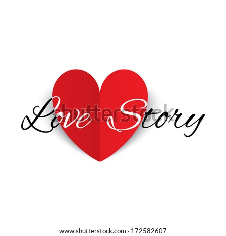 Love story paper heart sign. Red paper heart Valentines day card.  illustration
