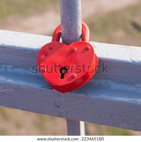 Love symbol.Happy Wedding Lock - stock photo