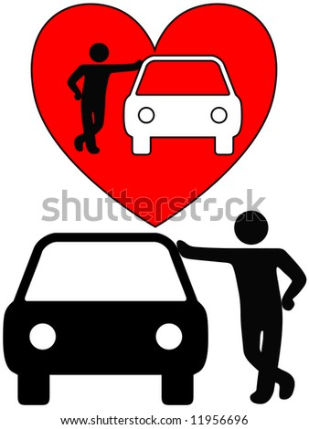Love the car! A symbol person as a loving car owner leans on a car, or a silhouette of a dealer or mechanic leaning on a car. - stock photo