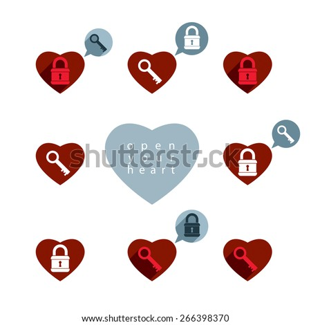 Love theme icons set with padlock and key, open your heart, conceptual valentine and romantic symbols collection. - stock photo