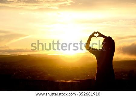love to sunset - stock photo