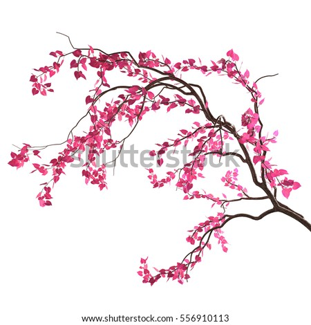 Love tree branch pink heartshaped leaves stock illustration love tree branch with pink heart shaped leaves isolated on white background valentines mightylinksfo