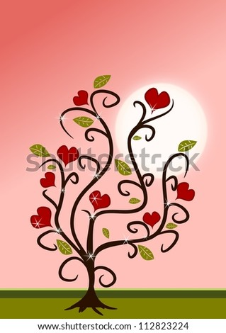 Love tree in pink and red colors in cartoon styles