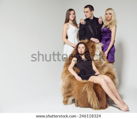 Love triangle. Man, women, love, sexy, modern concept of love story. Be married many times. Polygamist. Love story between one man and three women. Love or jealousy, lover or wife. Mistress behind. - stock photo
