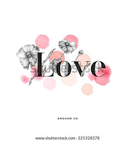 Love typography hand drawn ( Valentine's day love card) - stock photo
