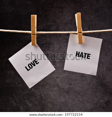 Love versus hate conceptual image for choosing between loving and hating, words printed on note paper attached to clothesline. - stock photo