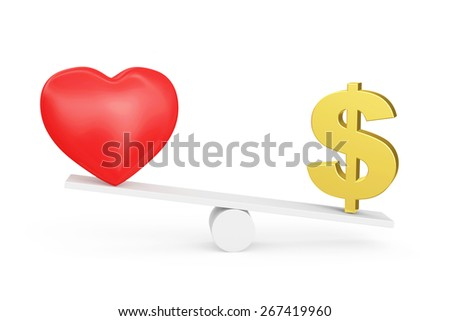 Love vs Money concept or Love vs Carrier concept. Carrier wins. Red heart and Dollar sign on scales isolated on white background - stock photo