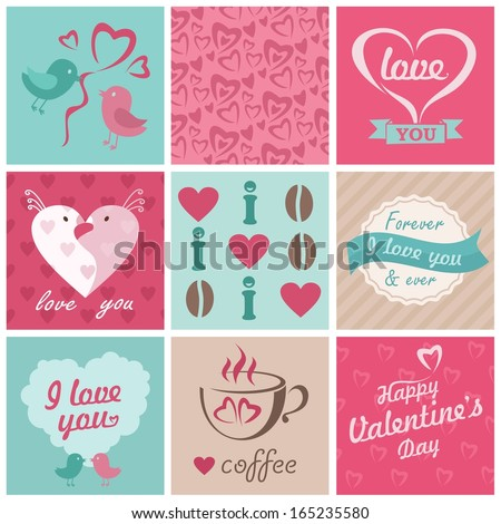 love, wedding, coffee set with ornaments, hearts, ribbons, birds - stock photo
