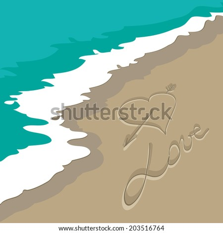 love with Heart written by hand in sand on a beach with a blue wave raster - stock photo