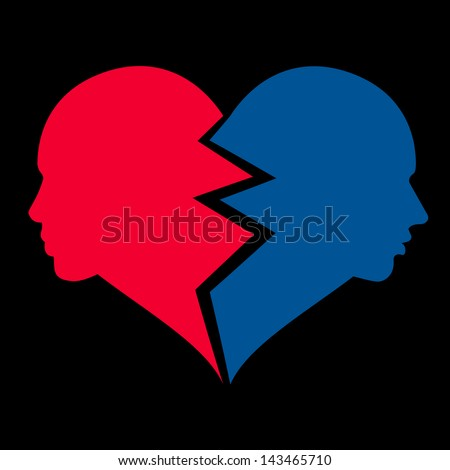 love �¢?? woman and man in the broken heart, - stock photo