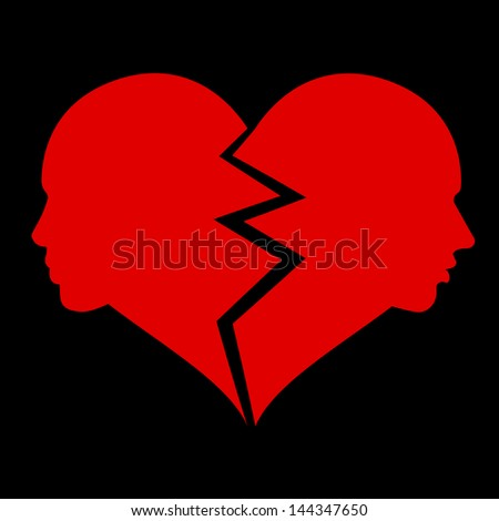 love �¢?? woman and man in the broken heart - stock photo