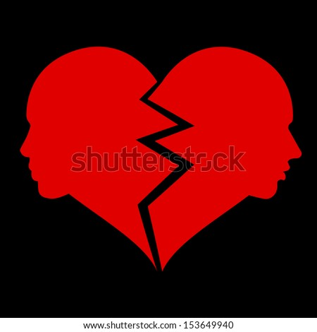 love, woman and man in the broken heart - stock photo