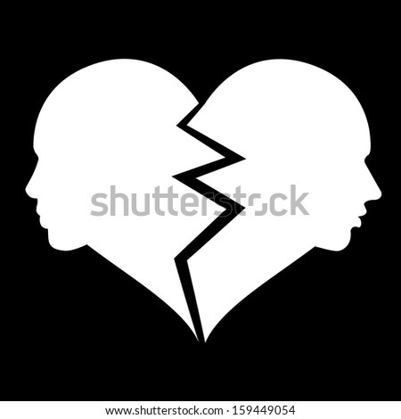 love, woman and man in the broken heart,  - stock photo