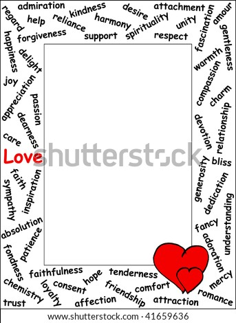 love word frame with 54 love related words and two hearts vertical - Word Frame