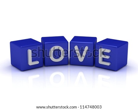 LOVE word on blue cubes on an isolated white background