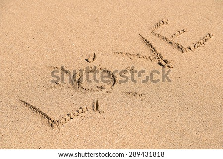 Love Word On Ocean Beach Sand