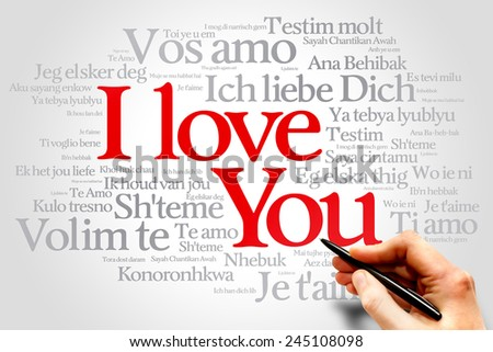 "Love words ""I love you"" in all languages of the world, words cloud - stock photo"
