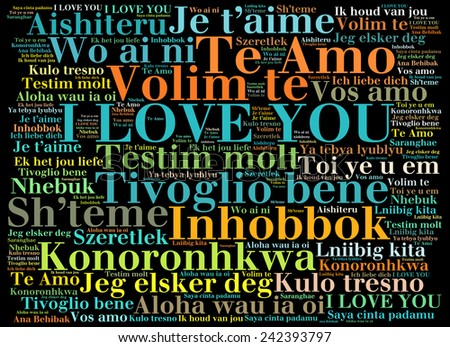 "love words ""I love you"" in different languages of the world, words cloud"