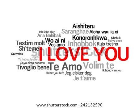 "Love words ""I love you"" in different of the world, words cloud - stock photo"