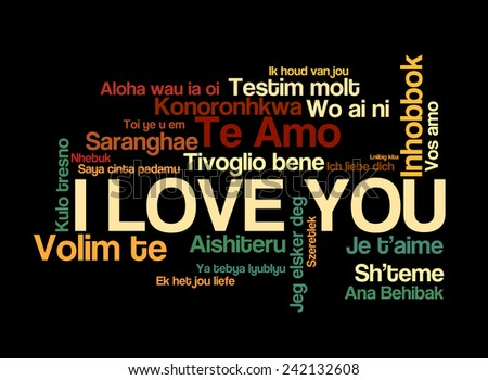 "Love words ""I love you"" in different of the world, words cloud"