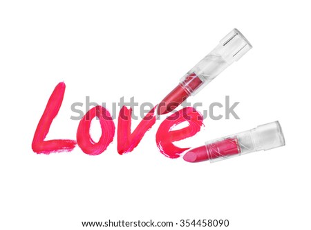 love words written by red lipstick on white background - stock photo