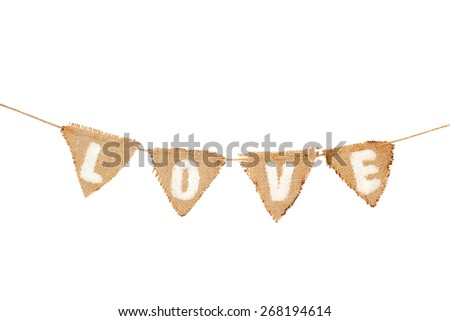 Love  written on small flags isolated