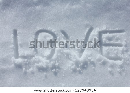Love written on snow