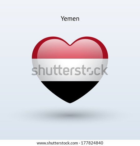 Love Yemen symbol. Heart flag icon. See also vector version. - stock photo