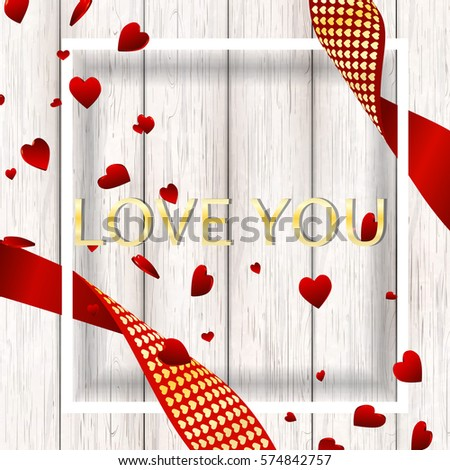 Love you  banner template, wallpaper, flyers, invitation, brochure, voucher, poster design. Beautiful Romantic composition backdrop with flying 3D red heart confetti  on wooden texture . illustration