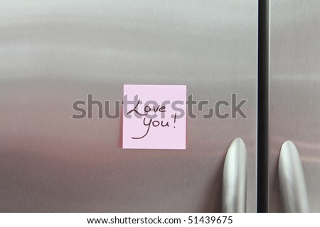 Love You Note on a Refrigerator