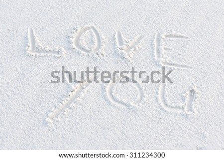 Love You Written At White Sands National Monument - stock photo