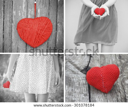 love young girl heart in hand black and white photo - stock photo