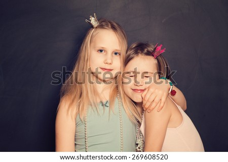 Love - Young Sisters, portrait of Teen Girls - stock photo