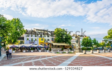 LOVECH, BULGARIA, MAY 2, 2016: View of the main square of the bulgarian city Lovech