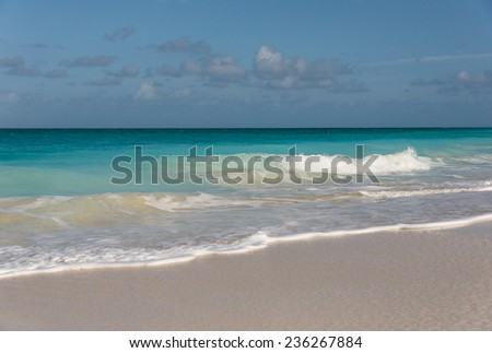 Lovely and gentle ocean of Turks and Caicos coast - stock photo