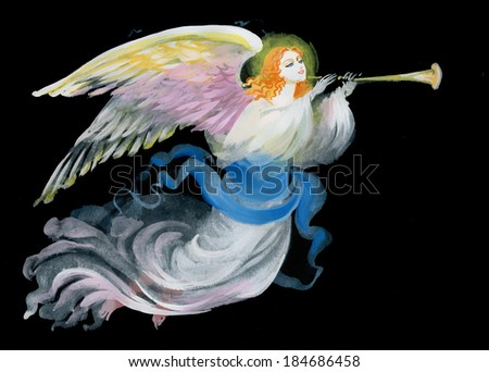 Lovely angel on a black background - stock photo