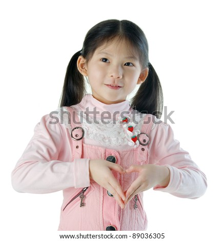 lovely asian girl making the sign of love, isolated on white background - stock photo