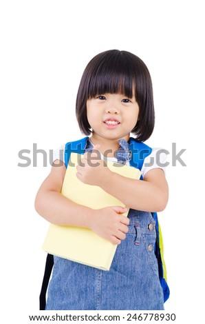 Lovely asian preschooler raised her thumbs up - stock photo