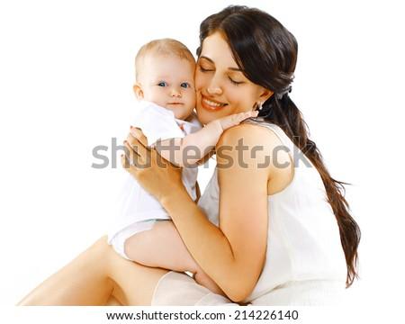 Lovely baby and happy mom - stock photo