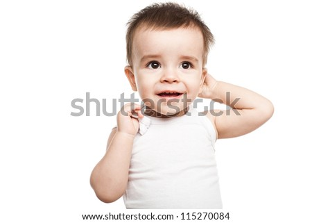 Lovely baby boy isolated on white background