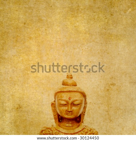 lovely background image with buddha. very useful design element. - stock photo