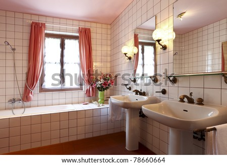 lovely bathroom in style classical, lights - stock photo