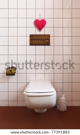 lovely bathroom in style classical, toilet - stock photo
